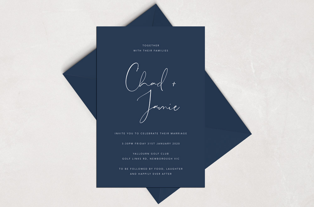 Navy coloured card with white ink matched with a navy euro flap envelope